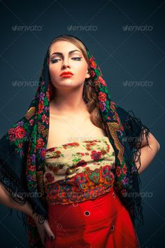 Gorgeous russian woman in shawl ...  adult, art, attractive, background, beautiful, beauty, black, blue, brunette, caucasian, closeup, clothing, cute, dark, dress, elegance, exotic, eye, eyes, face, fashion, female, feminine, girl, glamour, hair, hand, head, kerchief, lady, lips, look, makeup, model, ornament, people, person, portrait, pretty, red, russian, sensual, sensuality, sexy, shawl, studio, style, white, woman, young