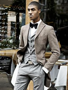 This winter ensemble is perfectly accessorized with a bow tie.