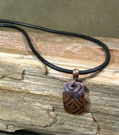 Mens Necklace  Leather Necklace  Etched Copper by StoneWearDesigns