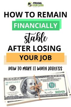 Learn how to remain financially stable after losing your job. Sometimes the economy can be difficult. However, learn these frugal living methods that will help you learn about budgeting, debt and money management. Ways To Save Money, Money Saving Tips, How To Make Money, Managing Money, Money Hacks, Financial Tips, Financial Assistance, Financial Peace, Finance Organization