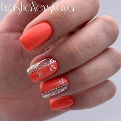 Nail art Christmas - the festive spirit on the nails. Over 70 creative ideas and tutorials - My Nails Cute Acrylic Nail Designs, Orange Nail Designs, Cute Acrylic Nails, Toe Nail Designs, Cute Nails, Pretty Nails, Flower Nail Designs, Orange Design, Nails Design