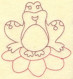 Frog on lily pad | Redwork Outline Machine Embroidery Design or Pattern