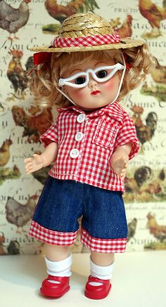 """4 PC GiNNy'S """"Goin' on a Hayride!"""" outfit for Ginny. Hand designed. Fits Muffie, Ginger, and Wendy 8"""" dolls too. Jean shorts, matching shirt, hat with hatband, and glasses. At my ebay now. Click pix to take you there. An Original. Last Red Set! Buy it now! SOLD!"""