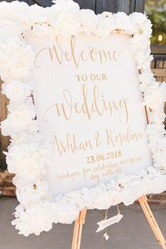 Fun wedding signs for your big day White floral wedding sign Source by hgolchet. White Wedding Decorations, Wedding Table Centerpieces, Centerpiece Ideas, Centerpiece Flowers, White Centerpiece, All White Wedding, Dream Wedding, Paris Wedding, Spring Wedding
