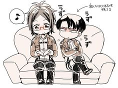 Omg I love Levi in this lol, its like he's surreptitiously trying to read over her shoulder (he's probably feeling neglected ;P) | Levihan | SNK