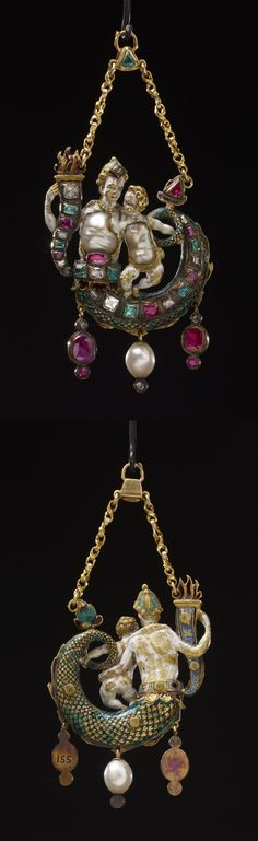 Pendant jewel; gold; set with diamonds, emeralds and rubies; form of a Nereid with child, bodies of Baroque pearls with white enamel; Nereid holds cornucopia-shaped torch, set with stones; tail curved towards left shoulder; two pendant rubies and a pearl hang from lower edge; suspended by chain. late 16th century, Italy or Germany, Length: 9.2 cm (max)Width: 4.4 cm Depth: 1.3 cm Weight: 52 g