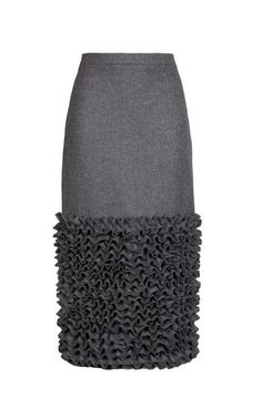 Straight Grey Wool Skirt With Ruched Hem by Ruban for Preorder on Moda Operandi