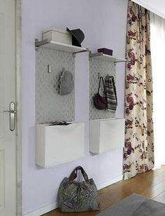 Modern Furniture for Small Spaces, 15 Great Ideas for Decorating Small Apartments and Homes space saving entryway design with white wall-mounted shoe storage cabinets. avec des couleurs plus gaies. Tiny House Furniture, Furniture For Small Spaces, Modern Furniture, Home Furniture, Furniture Design, Small Apartment Decorating, Foyer Decorating, Decorating Small Spaces, Decorating Ideas