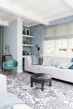 White & blue living room