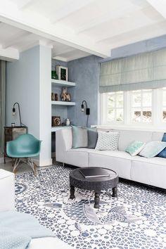 White & blue living room