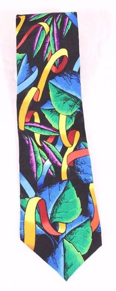Rush Limbaugh Neck Tie Bright Colorful Floral Abstract Design All Silk USA Made #RushLimbaugh #Tie