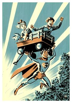 """Geek Art comes from artist Michael Cho and it's called The Adventures of Superboy: """"This is a cover image I painted for a hard-cover collection of 1940's Superboy stories published by DC, which should be out on comic shop shelves very soon. It was a fun assignment, and gave me the opportunity to draw a light-hearted super hero image. I even got to put in a puppy."""""""