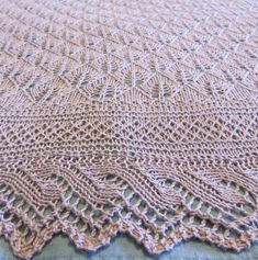 Free Knitting Pattern for Hush Little Baby Blanket - Gorgeous lace blanket featuring an all-over Fert Stitch lace pattern with a lace edging. Designed by Cookknitwine Cook. Size Large – 72 ins diagonal width. Pictured project by fifivet who sized it down Lace Knitting, Baby Knitting Patterns, Crochet Patterns, Lace Patterns, Stitch Patterns, Knitted Baby Blankets, Baby Blanket Crochet, Knitted Bags, Baby Shawl