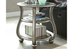 Ashley Furniture Coralayne End Table with Made of engineered wood and resin,Metallic sheen finish,Beveled clear glass inset,Swan neck legs,Assembly required Table Design, Ashley Furniture, Table, End Tables, Engineered Wood, Coffee Table Design, Ashley Furniture Homestore, Grey Leather Sectional, Display Shelves