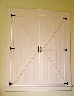 Beautiful DIY interior shutters, for our bedroom Diy Interior Shutters, Diy Shutters, Interior Barn Doors, Indoor Shutters For Windows, Front Windows, Homemade Shutters, Bedroom Shutters, Wooden Shutters, Cowgirl Bedroom