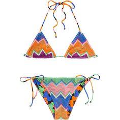 Missoni Mare Reversible Knit Triangle Bikini ($215) ❤ liked on Polyvore featuring swimwear, bikinis, missoni, multicolored, triangle bikinis, halterneck bikini top, triangle swimwear, knit bikini and halter top bikini swimwear