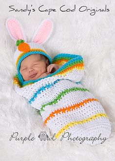 "Ravelry: Baby Cocoon Set ""Easter Bunny"" pattern by Sandy Powers  5.95"