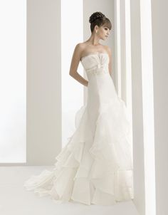 Strapless with empire waist A-line tulle wedding dress