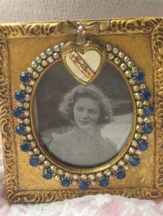Mother vintage jeweled frame