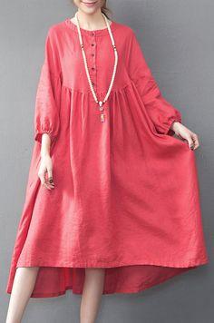 baggy red long linen dresses trendy plus size high waist caftans vintage linen caftans