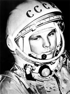 The first human in space, Yuri Gagarin (9.3.1934 – 27.3.1968). In his Vostok spacecraft he completed an orbit of the Earth on 12 April 1961.
