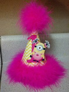 pink and yellow girl minion 1st birthday or any age party hat  minion party supplies