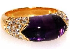 BVLGARI Bulgari Amethyst & Diamond 18k Yellow Gold Ring #BVLGARI