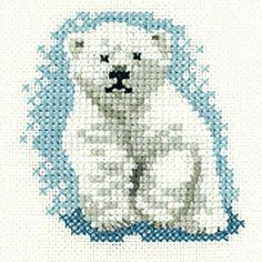 Crochet Stuff Bears Patterns Mini Polar Bear Cub, Little Friends Cross Stitch Kit Mini Cross Stitch, Cross Stitch Cards, Beaded Cross Stitch, Cross Stitch Animals, Cross Stitch Kits, Cross Stitch Designs, Cross Stitching, Cross Stitch Embroidery, Embroidery Patterns