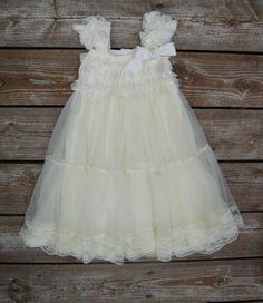 Ivory flower girl dress. lace flowergirl dress. Shabby chic vintage dress. Rustic flower girl dress. Baby lace dress. Toddler lace dress by KadeesKloset on Etsy https://www.etsy.com/listing/201814945/ivory-flower-girl-dress-lace-flowergirl