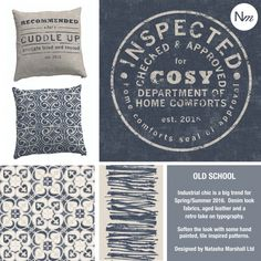 Cushions bring text into your homes. Tile designs inspired by Natasha' trip to Lisbon & Cacais.