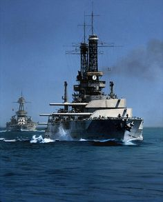 USS Idaho BB-42 (foreground) & Texas BB-35 circa 1930. colorized