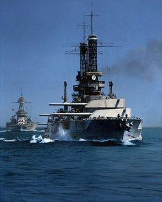 USS Idaho BB-42 (foreground) & Texas BB-35 circa 1930. colorized