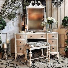 "Mahogany vintage vanity given the full ""glam"" treatment with soft white & champagne metallics from the Modern Masters Metallic Paint Collection 
