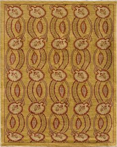 A bright carpet with red flowers on a yellow background. (F135-2634)