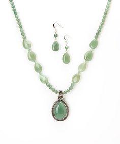 Love this Green Aventurian Teardrop Pendant Necklace & Earrings on #zulily! #zulilyfinds