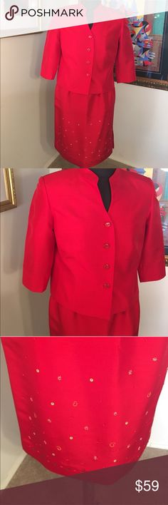 🎁TRAVIS AYERS SKIRT & JACKET 💯AUTHENTIC ⭐️TRAVIS AYERS SHIRT AND JACKET 💯AUTHENTIC . THIS IS TRULY LOVELY. A WONDERFUL EMBELLISHED SKIRT. SIZE 12P. THE COLOR IS RED. THE BUST  OF THE JACKET IS 20 INCHES ACROSS. THE WAIST OF THE SKIRT IS 30 INCHES . THE LENGTH OF THE SKIRT IS 22.5 INCHES. . THE HIP OF THE SKIRT IS 20 INCHES ACROSS. Travis Ayers Skirts