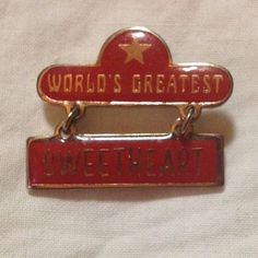 Gold Tone Red Enamel Vintage Swib Worlds Greatest Sweetheart Pin Pinback