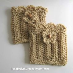 Boot Cuffs Topper Sock - Beige/Tan Color with Flower - Handmade Crochet with Shell Stitch Trim One Size Fits Most $18.95