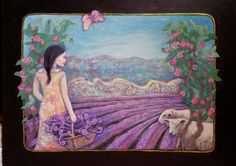 Lavender harvest with friends - original collage painting, woman in landscape, lavender painting,  lavender art, lavender print by GinaGArt on Etsy