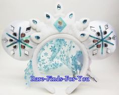 Disney-Parks-Frozen-Princess-Elsa-Jeweled-Crown-Mickey-Ear-Headband-Hat-Cap-NEW