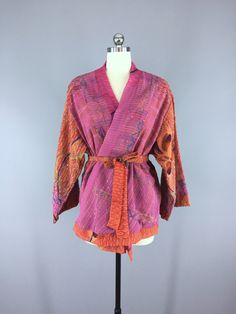 Silk Kimono Cardigan / Vintage Indian Sari / Bohemian Orange Pink Floral Embroidered #vintagesari #indiansari #sari #kimonocardigan #kimonojacket #kimono #boho #bohemian #wedding #dressinggown #cardigan #jacket #silksari #silk