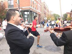 The Mariachi cheering on runners by playing on 18th St at the 2012 Chicago Marathon