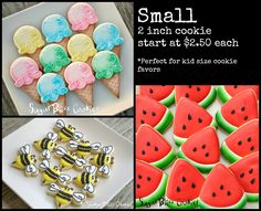 2 inch cookie start at $2.50 each