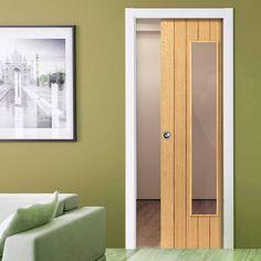 Single Pocket River Cottage Oak Cherwell sliding door system in three size widths with Clear Glass. #pocketdoor #glazedpocketdoor #internaloakpocketdoor