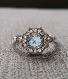 "Halo Aquamarine and Diamond Ring Gemstone Engagement Ring Antique Flower Estate Octagon Blue Art Deco 14K White Gold Vintage ""The Elsa"":"