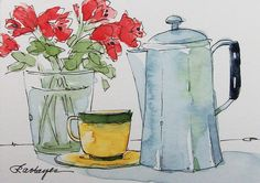 Vintage Teapot Yellow Coffee Cup Original by RoseAnnHayes on Etsy, $21.00