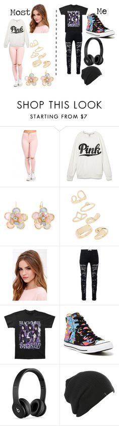 """My Style Versus Others..."" by boomwow ❤ liked on Polyvore featuring Victoria's Secret, Mixit, Topshop, Lulu*s, Converse, Beats by Dr. Dre, emo and girly"