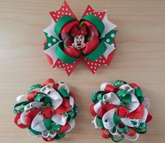 Minnie & Jingle Bells Green and Red Christmas Holiday Hair Bows - ColorfulBows