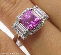 AGL 3.03ct Estate Vintage No Heat Pink Sapphire Diamond 3 Stone Engagement Wedding 18k White Gold Ring