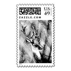 Black and White Deer Postage